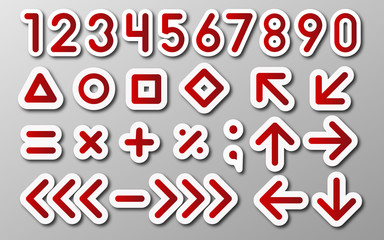 mathematical signs, digits and arrows