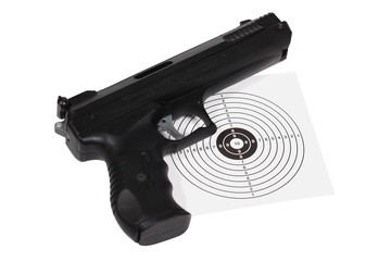 Target shooting equipment over white with clipping path.