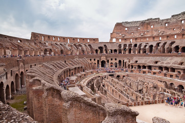 Fototapete - Walls and passages inside colosseum at Rome - Italy