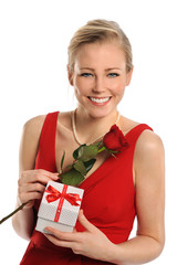 Young Woman Holding Rose and Gift