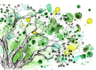 Foto auf Leinwand Gemälde tree