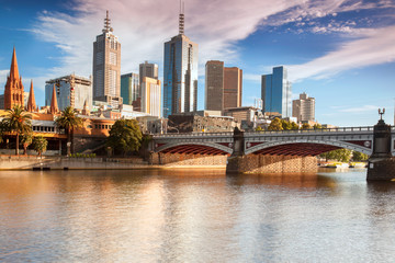 Spoed Fotobehang Australië Melbourne skyline from Southbank