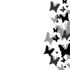 Background decorated with butterflies silhouettes