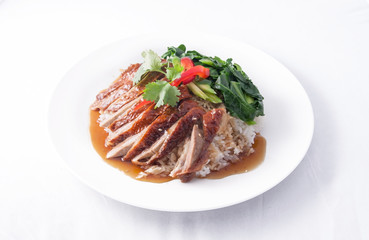 roast duck with rice.