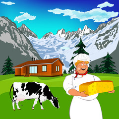 Poster Ranch Funny Chef and Natural dairy cheese with alps mountains meadow