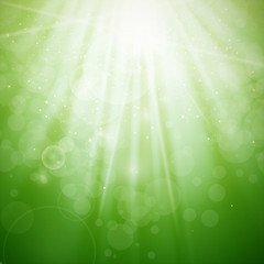 Vector Illustration of an Abstract Green Light Background