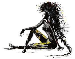 Fotobehang Bestsellers punk woman
