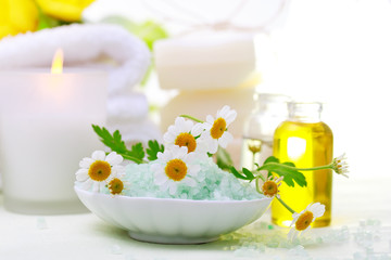 Spa relaxation theme with flowers