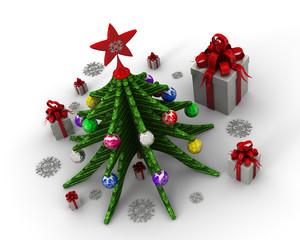 Новогодняя елка, шары и коробки с подарками