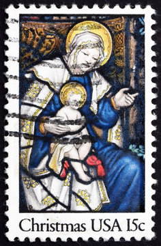 Postage stamp USA 1980 Madonna and Child, Christmas