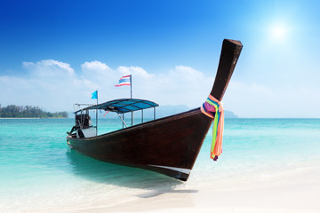long boat at island in Thailand