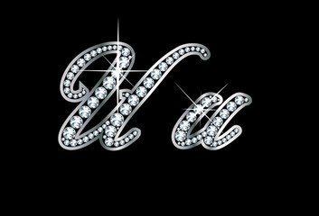 Script Diamond Bling Uu Letters