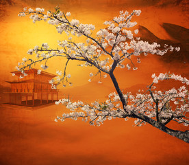 Wall Mural - Sakura postcard for adv or others purpose use