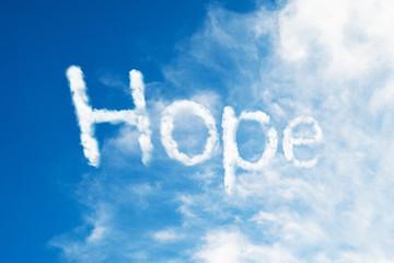 hope cloud word flying on blue sky