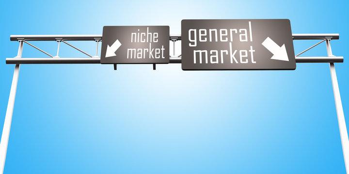 niche market and general market sign