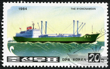 """Stamp printed in NORTH KOREA shows image of a """"The Ryongnamsan"""""""
