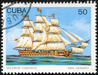 Stamp printed in Cuba shows image wind-driven ships