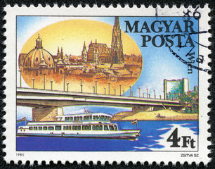 stamp printed by Hungary, shows Arpad Bridge in Budapest