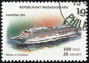 stamp printed by Madagascar, shows steamboat