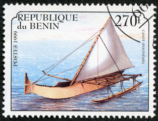 stamp printed in Benin shows image of a sailing ship