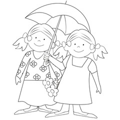 girls and umbrella-coloring
