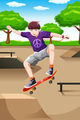 Happy kid playing skateboard