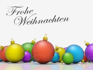 Christmas ornaments row Merry Christmas German Language