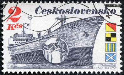 stamp printed in Czechoslovakia shows the Czech Freighter Brno