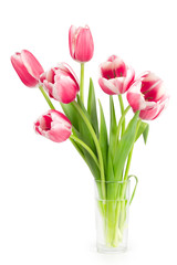 Bouquet of tulips in a vase