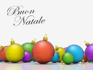 Christmas ornaments row Merry Christmas Italian Language