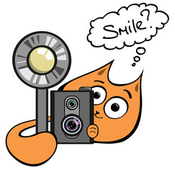 Photographer cat hiding behind vintage camera asking to smile