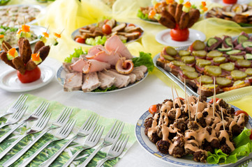 Catering food at a party.