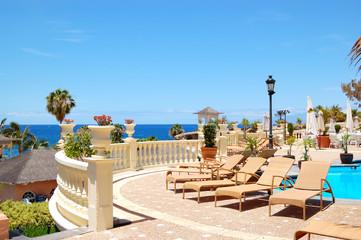 Sea view terrace of the luxury hotel's restaurant, Tenerife isla