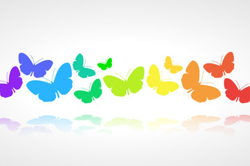 Vector background - colorful butterflies