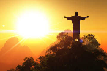 Corcovado Mountain in the Sunset 3D render Wall mural