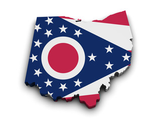 Ohio Flag Map Shape