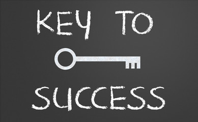 Key to success written on a chalkboard