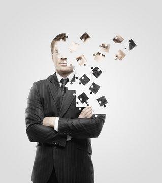 man built of puzzle