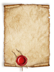 Scroll old paper sheet, Vintage aged old paper with red wax seal