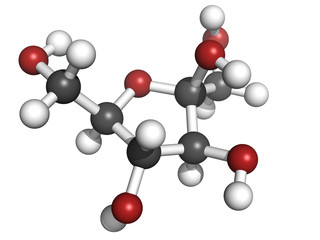 Fructose fruit sugar molecule, chemical structure
