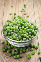Frozen peas in a glass bowl