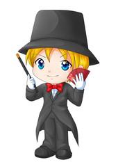 Cute cartoon illustration of a magician