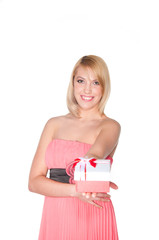 portrait of a womanl in pink dress with gift box