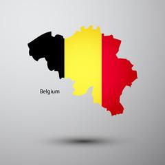 Belgium flag on map