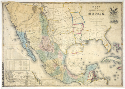 Wall mural Mexico old map