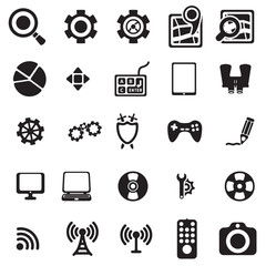 Vector black universal web icons set on white