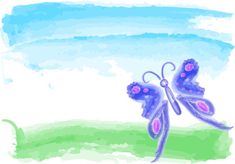 blue butterfly  watercolor