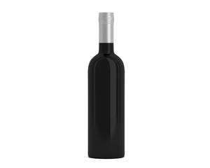 Weinflasche Schwarz Kappe weiß