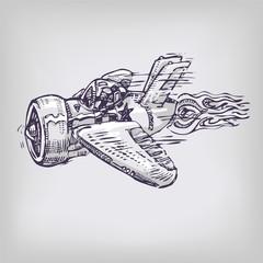 Zeichnung 08 Flugzeug