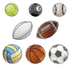sport balls sketch icon set